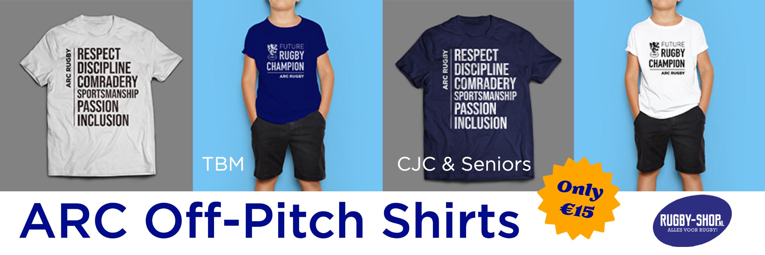 link naar de off-pitch T-shirts van ARC