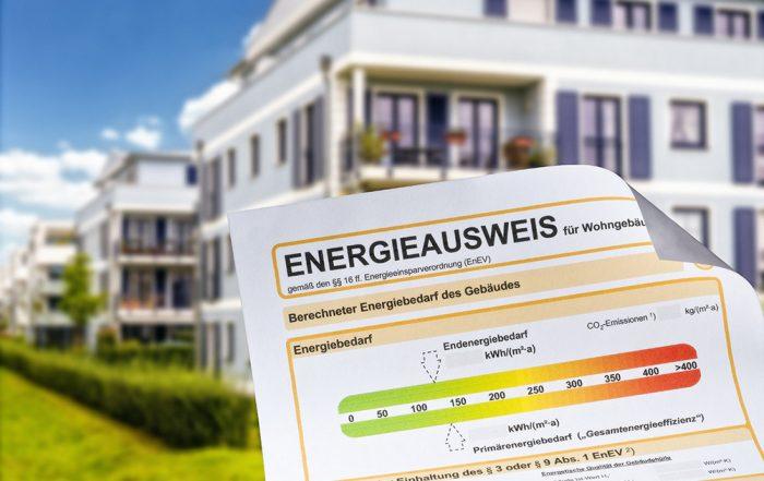 Ein Energieausweis für ein Wohngebäude.